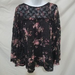 Time and Tru Black lacy blouse
